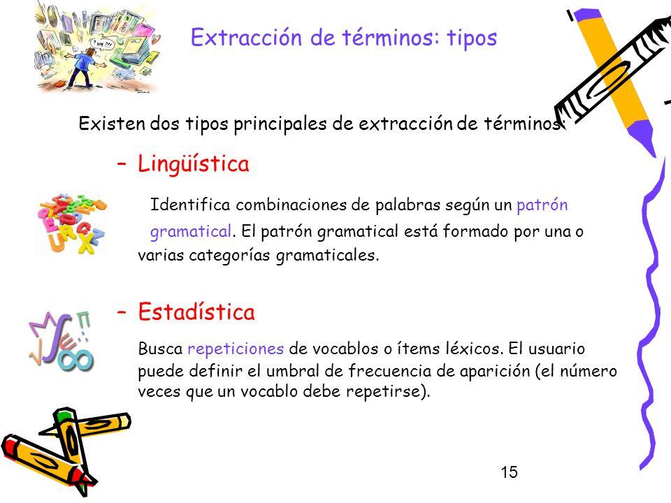 15 Extracción de términos: tipos –Lingüística Identifica combinaciones de palabras según un patrón gramatical. El patrón gramatical está formado por u