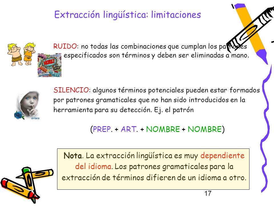 17 Extracción lingüística: limitaciones RUIDO: no todas las combinaciones que cumplan los patrones especificados son términos y deben ser eliminadas a