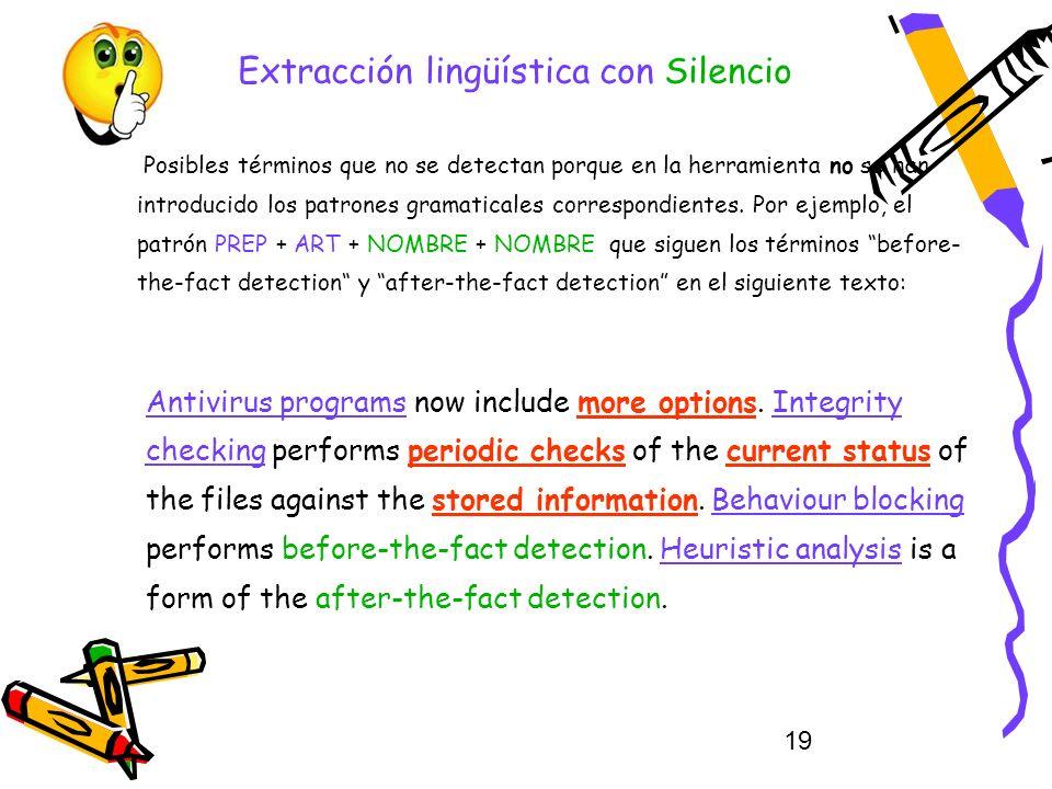 19 Extracción lingüística con Silencio Posibles términos que no se detectan porque en la herramienta no se han introducido los patrones gramaticales c