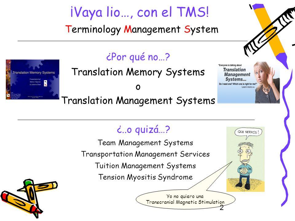 2 ¡Vaya lio…, con el TMS! Terminology Management System ¿Por qué no…? Translation Memory Systems o Translation Management Systems ¿..o quizá…? Team Ma