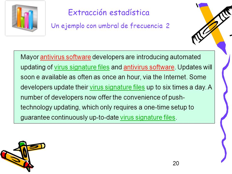 20 Extracción estadística Un ejemplo con umbral de frecuencia 2 Mayor antivirus software developers are introducing automated updating of virus signature files and antivirus software.