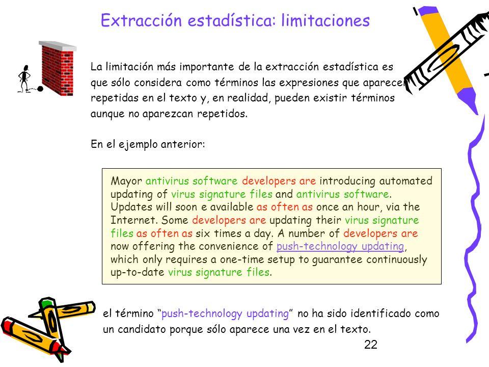 22 Extracción estadística: limitaciones La limitación más importante de la extracción estadística es que sólo considera como términos las expresiones