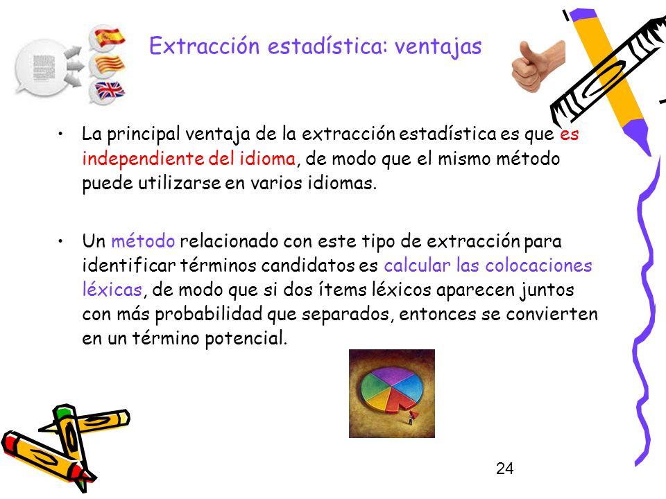 24 Extracción estadística: ventajas La principal ventaja de la extracción estadística es que es independiente del idioma, de modo que el mismo método