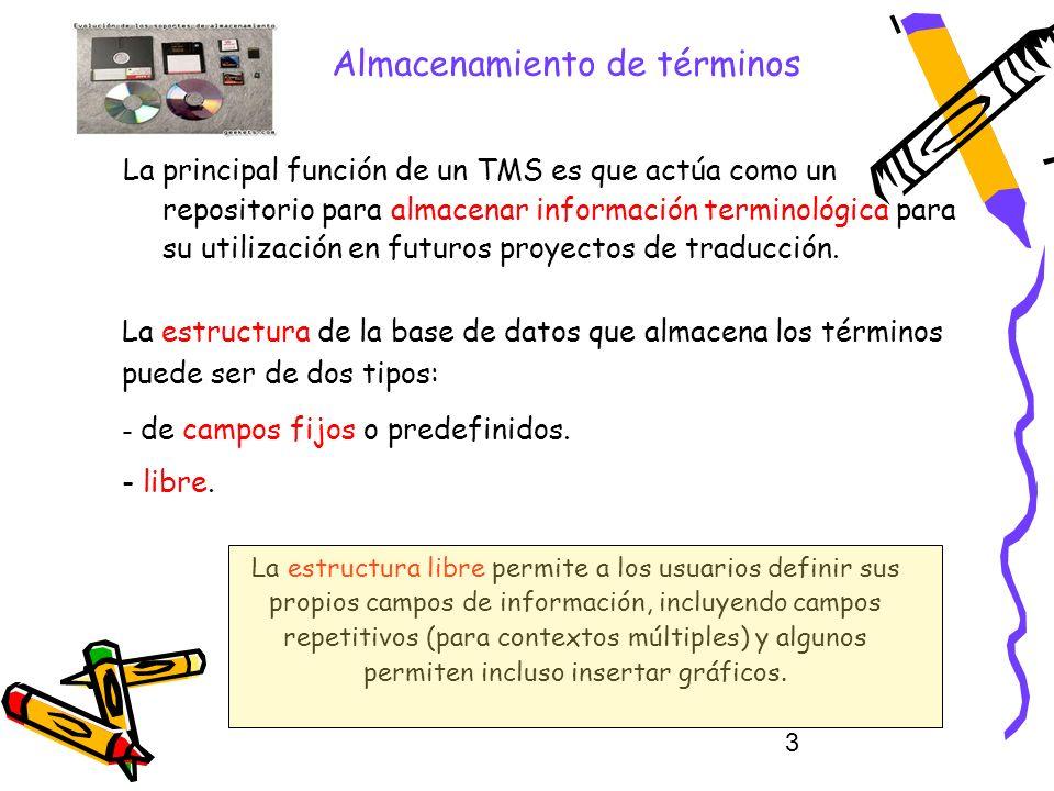 3 Almacenamiento de términos La principal función de un TMS es que actúa como un repositorio para almacenar información terminológica para su utilizac