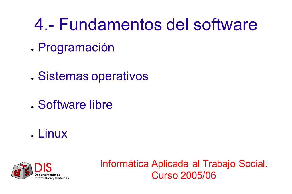 4.- Fundamentos del software Programación Sistemas operativos Software libre Linux Informática Aplicada al Trabajo Social. Curso 2005/06