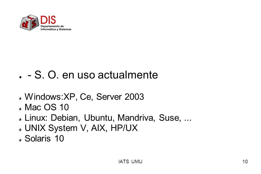 IATS UMU10 - S. O. en uso actualmente Windows:XP, Ce, Server 2003 Mac OS 10 Linux: Debian, Ubuntu, Mandriva, Suse,... UNIX System V, AIX, HP/UX Solari