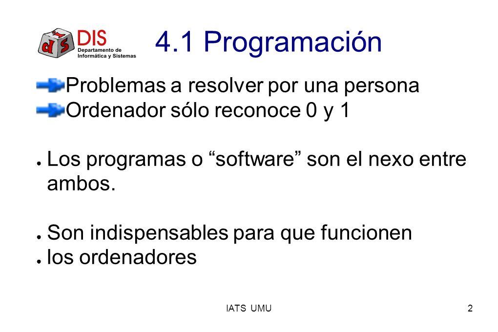 IATS UMU2 4.1 Programación Problemas a resolver por una persona Ordenador sólo reconoce 0 y 1 Los programas o software son el nexo entre ambos. Son in