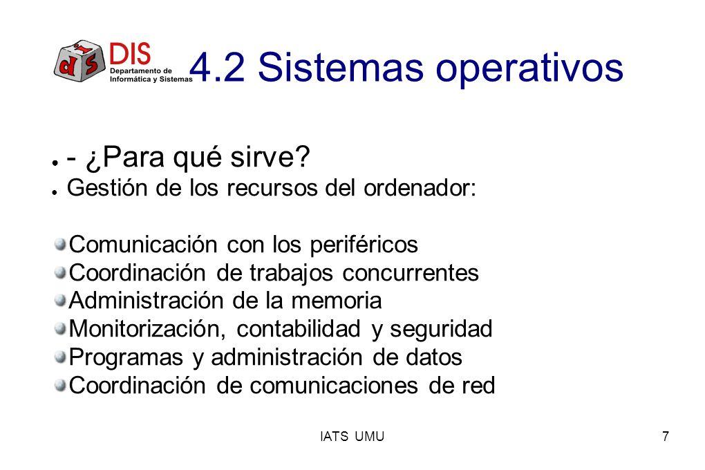 IATS UMU7 - ¿Para qué sirve? Gestión de los recursos del ordenador: Comunicación con los periféricos Coordinación de trabajos concurrentes Administrac