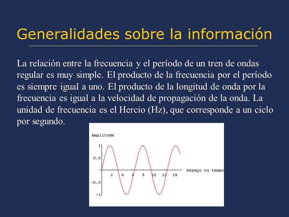 Generalidades sobre la información La relación entre la frecuencia y el período de un tren de ondas regular es muy simple. El producto de la frecuenci