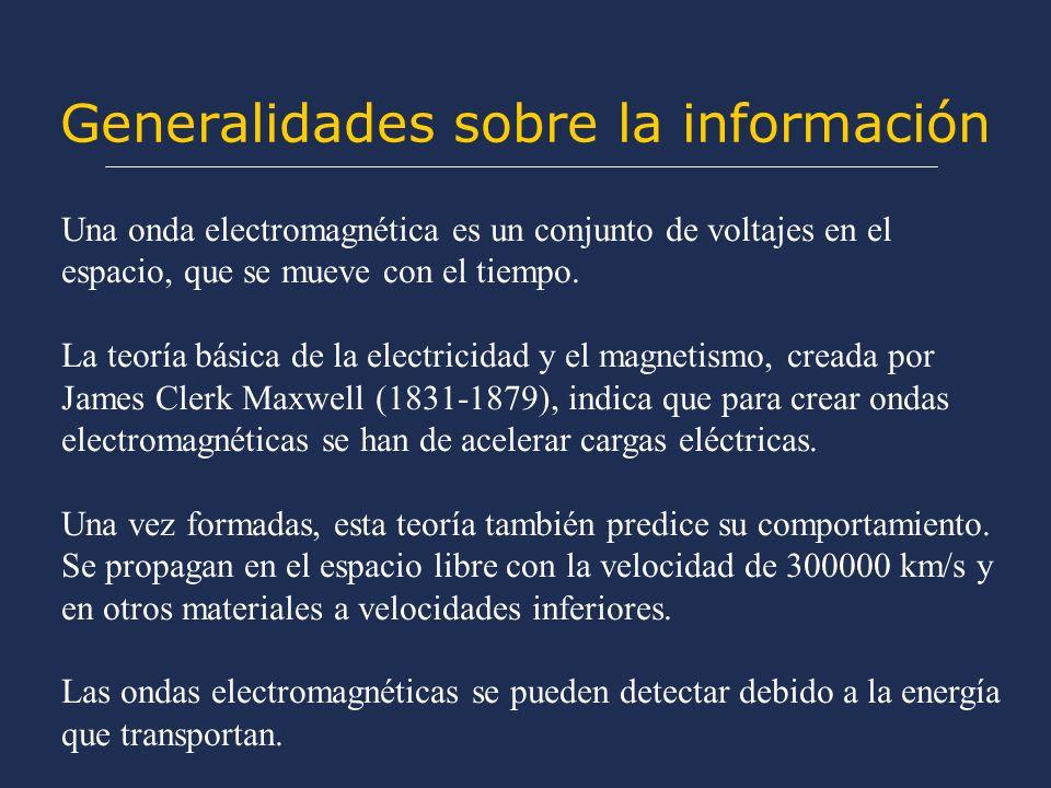 Generalidades sobre la información Una onda electromagnética es un conjunto de voltajes en el espacio, que se mueve con el tiempo.