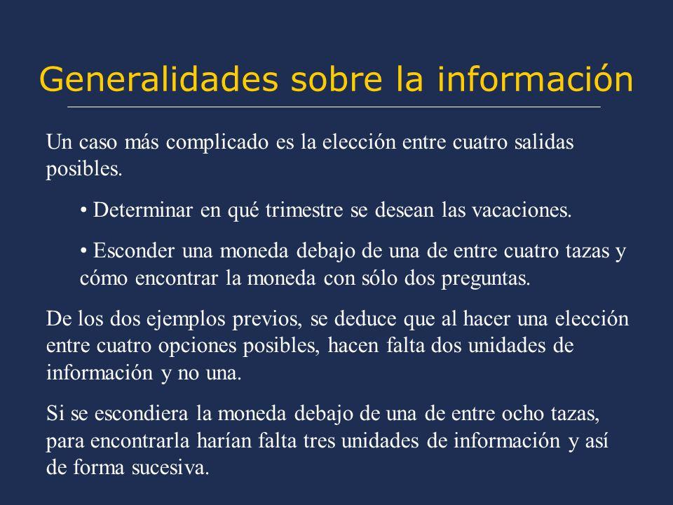Generalidades sobre la información Un caso más complicado es la elección entre cuatro salidas posibles.