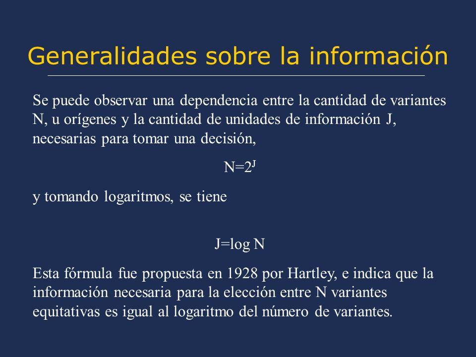 Generalidades sobre la información Se puede observar una dependencia entre la cantidad de variantes N, u orígenes y la cantidad de unidades de información J, necesarias para tomar una decisión, N=2 J y tomando logaritmos, se tiene J=log N Esta fórmula fue propuesta en 1928 por Hartley, e indica que la información necesaria para la elección entre N variantes equitativas es igual al logaritmo del número de variantes.