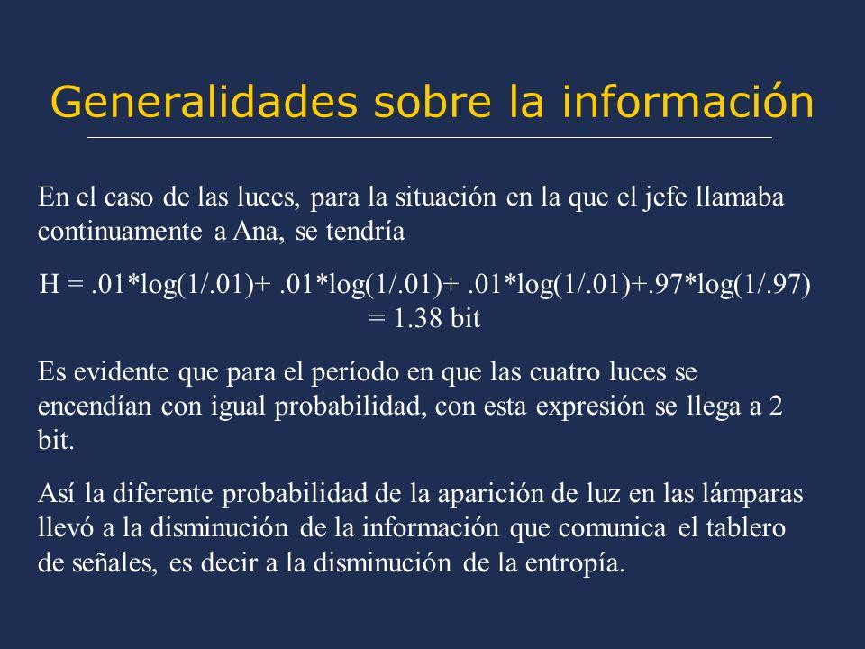 Generalidades sobre la información En el caso de las luces, para la situación en la que el jefe llamaba continuamente a Ana, se tendría H =.01*log(1/.01)+.01*log(1/.01)+.01*log(1/.01)+.97*log(1/.97) = 1.38 bit Es evidente que para el período en que las cuatro luces se encendían con igual probabilidad, con esta expresión se llega a 2 bit.