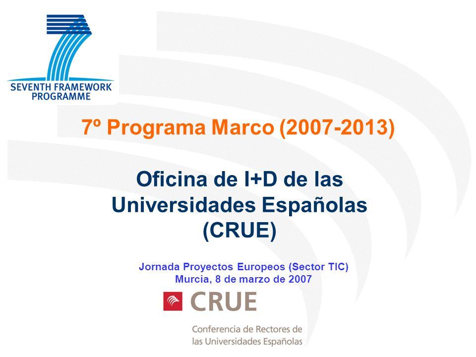 7º Programa Marco (2007-2013) Oficina de I+D de las Universidades Españolas (CRUE) Jornada Proyectos Europeos (Sector TIC) Murcia, 8 de marzo de 2007