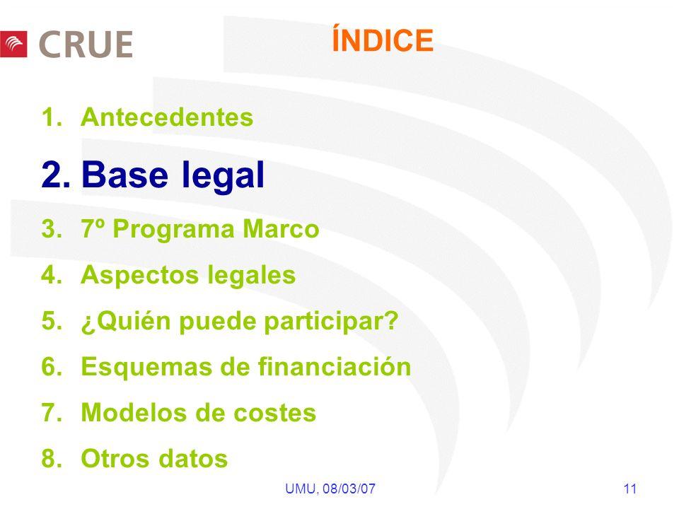 UMU, 08/03/07 11 ÍNDICE 1.Antecedentes 2.Base legal 3.7º Programa Marco 4.Aspectos legales 5.¿Quién puede participar? 6.Esquemas de financiación 7.Mod
