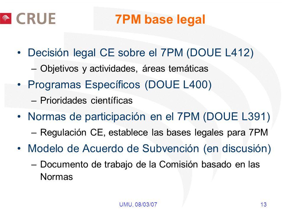 UMU, 08/03/07 13 7PM base legal Decisión legal CE sobre el 7PM (DOUE L412) –Objetivos y actividades, áreas temáticas Programas Específicos (DOUE L400) –Prioridades científicas Normas de participación en el 7PM (DOUE L391) –Regulación CE, establece las bases legales para 7PM Modelo de Acuerdo de Subvención (en discusión) –Documento de trabajo de la Comisión basado en las Normas