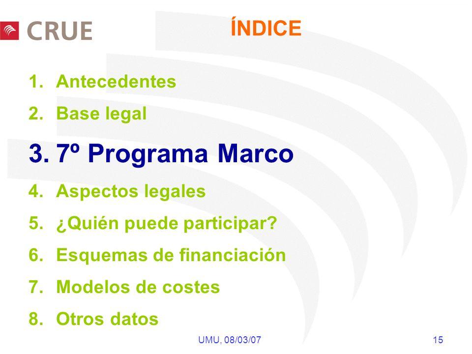 UMU, 08/03/07 15 ÍNDICE 1.Antecedentes 2.Base legal 3.7º Programa Marco 4.Aspectos legales 5.¿Quién puede participar? 6.Esquemas de financiación 7.Mod