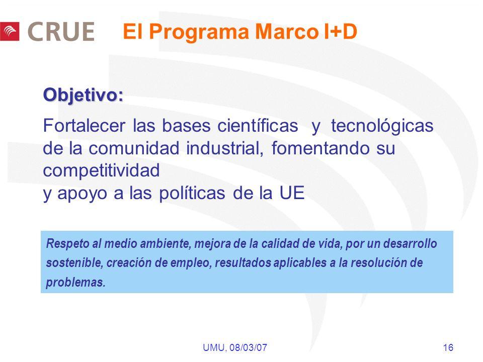 UMU, 08/03/07 16 Respeto al medio ambiente, mejora de la calidad de vida, por un desarrollo sostenible, creación de empleo, resultados aplicables a la
