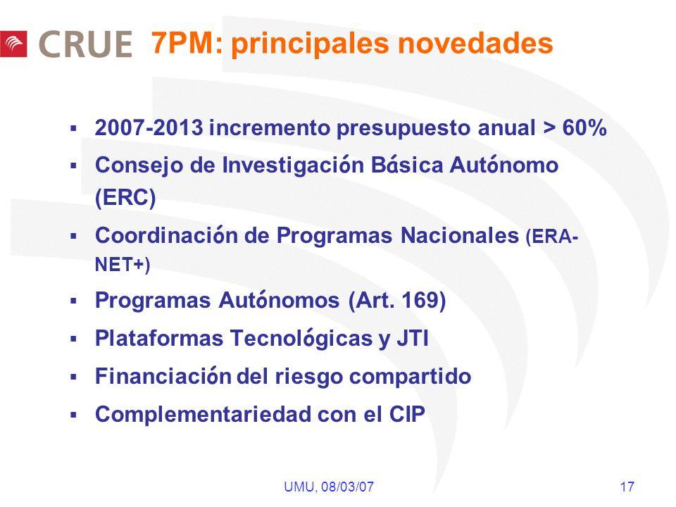 UMU, 08/03/07 17 7PM: principales novedades 2007-2013 incremento presupuesto anual > 60% Consejo de Investigaci ó n B á sica Aut ó nomo (ERC) Coordina