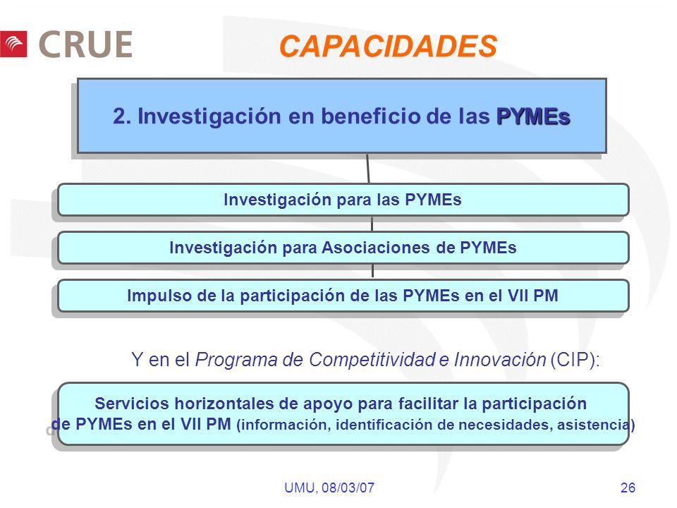 UMU, 08/03/07 26 PYMEs 2. Investigación en beneficio de las PYMEs Servicios horizontales de apoyo para facilitar la participación de PYMEs en el VII P