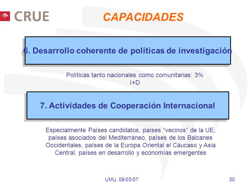 UMU, 08/03/07 30 6. Desarrollo coherente de políticas de investigación 7. Actividades de Cooperación Internacional Especialmente Países candidatos, pa