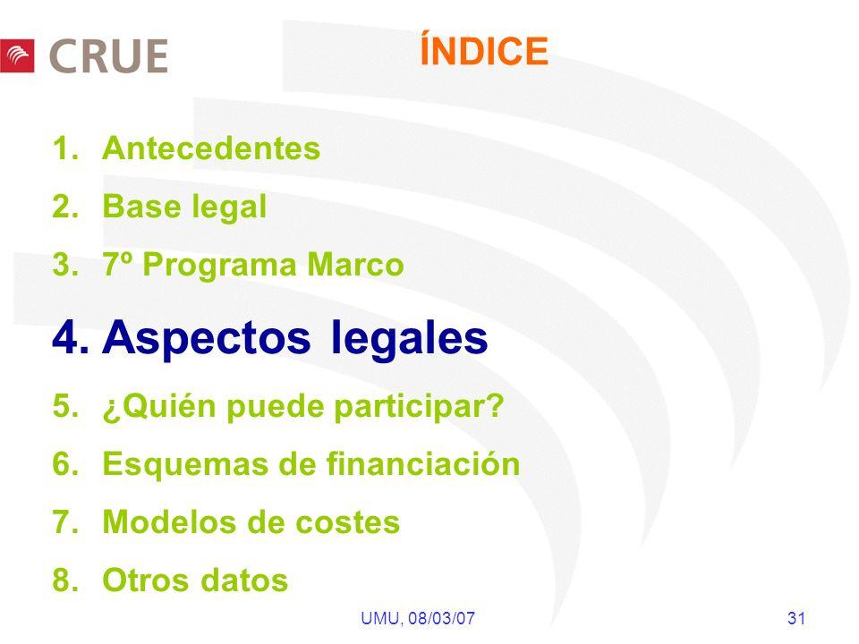 UMU, 08/03/07 31 ÍNDICE 1.Antecedentes 2.Base legal 3.7º Programa Marco 4.Aspectos legales 5.¿Quién puede participar? 6.Esquemas de financiación 7.Mod