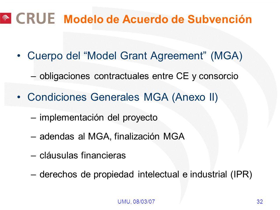 UMU, 08/03/07 32 Modelo de Acuerdo de Subvención Cuerpo del Model Grant Agreement (MGA) –obligaciones contractuales entre CE y consorcio Condiciones Generales MGA (Anexo II) –implementación del proyecto –adendas al MGA, finalización MGA –cláusulas financieras –derechos de propiedad intelectual e industrial (IPR)