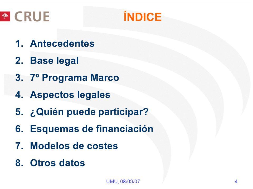 UMU, 08/03/07 4 ÍNDICE 1.Antecedentes 2.Base legal 3.7º Programa Marco 4.Aspectos legales 5.¿Quién puede participar? 6.Esquemas de financiación 7.Mode