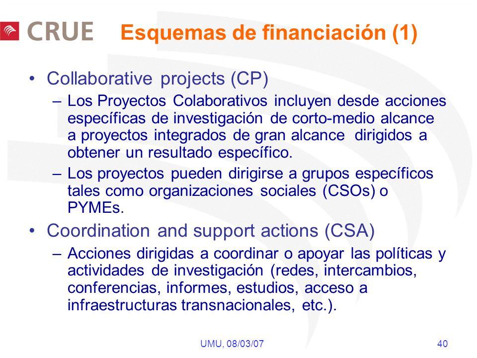UMU, 08/03/07 40 Collaborative projects (CP) –Los Proyectos Colaborativos incluyen desde acciones específicas de investigación de corto-medio alcance a proyectos integrados de gran alcance dirigidos a obtener un resultado específico.