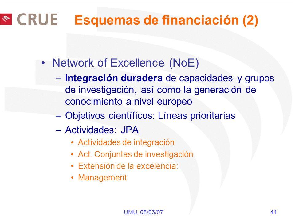 UMU, 08/03/07 41 Network of Excellence (NoE) –Integración duradera de capacidades y grupos de investigación, así como la generación de conocimiento a nivel europeo –Objetivos científicos: Líneas prioritarias –Actividades: JPA Actividades de integración Act.
