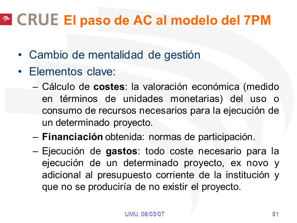 UMU, 08/03/07 51 El paso de AC al modelo del 7PM Cambio de mentalidad de gestión Elementos clave: –Cálculo de costes: la valoración económica (medido en términos de unidades monetarias) del uso o consumo de recursos necesarios para la ejecución de un determinado proyecto.