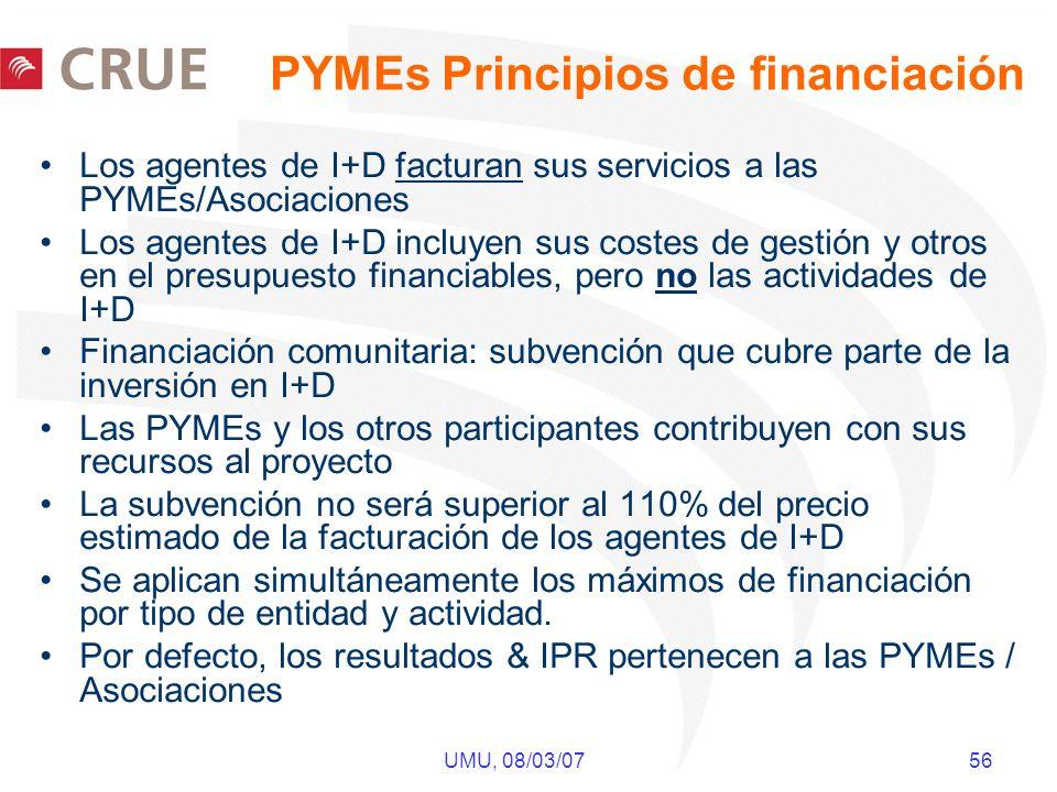 UMU, 08/03/07 56 PYMEs Principios de financiación Los agentes de I+D facturan sus servicios a las PYMEs/Asociaciones Los agentes de I+D incluyen sus costes de gestión y otros en el presupuesto financiables, pero no las actividades de I+D Financiación comunitaria: subvención que cubre parte de la inversión en I+D Las PYMEs y los otros participantes contribuyen con sus recursos al proyecto La subvención no será superior al 110% del precio estimado de la facturación de los agentes de I+D Se aplican simultáneamente los máximos de financiación por tipo de entidad y actividad.