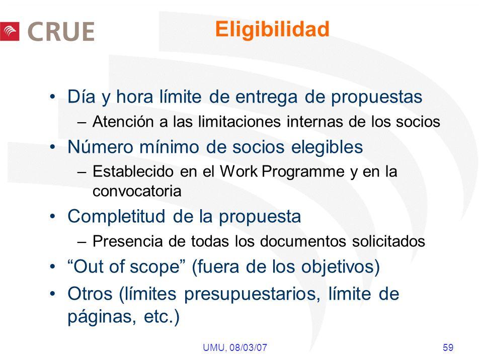 UMU, 08/03/07 59 Eligibilidad Día y hora límite de entrega de propuestas –Atención a las limitaciones internas de los socios Número mínimo de socios e