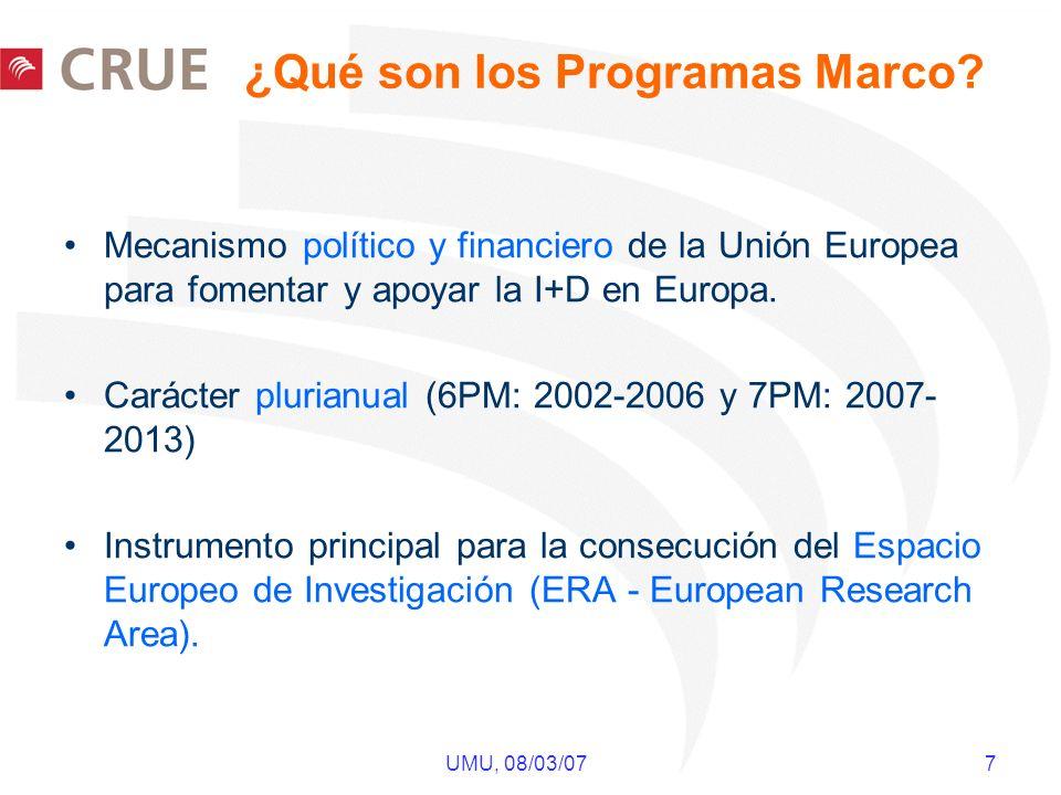 UMU, 08/03/07 7 ¿Qué son los Programas Marco? Mecanismo político y financiero de la Unión Europea para fomentar y apoyar la I+D en Europa. Carácter pl