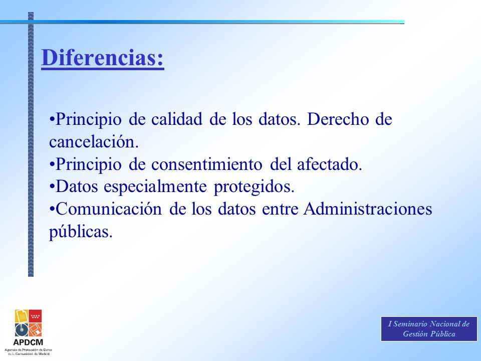 I Seminario Nacional de Gestión Pública Principio de calidad de los datos. Derecho de cancelación. Principio de consentimiento del afectado. Datos esp