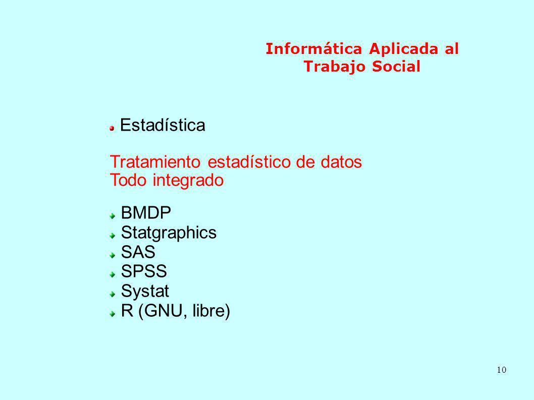 10 Informática Aplicada al Trabajo Social Estadística Tratamiento estadístico de datos Todo integrado BMDP Statgraphics SAS SPSS Systat R (GNU, libre)
