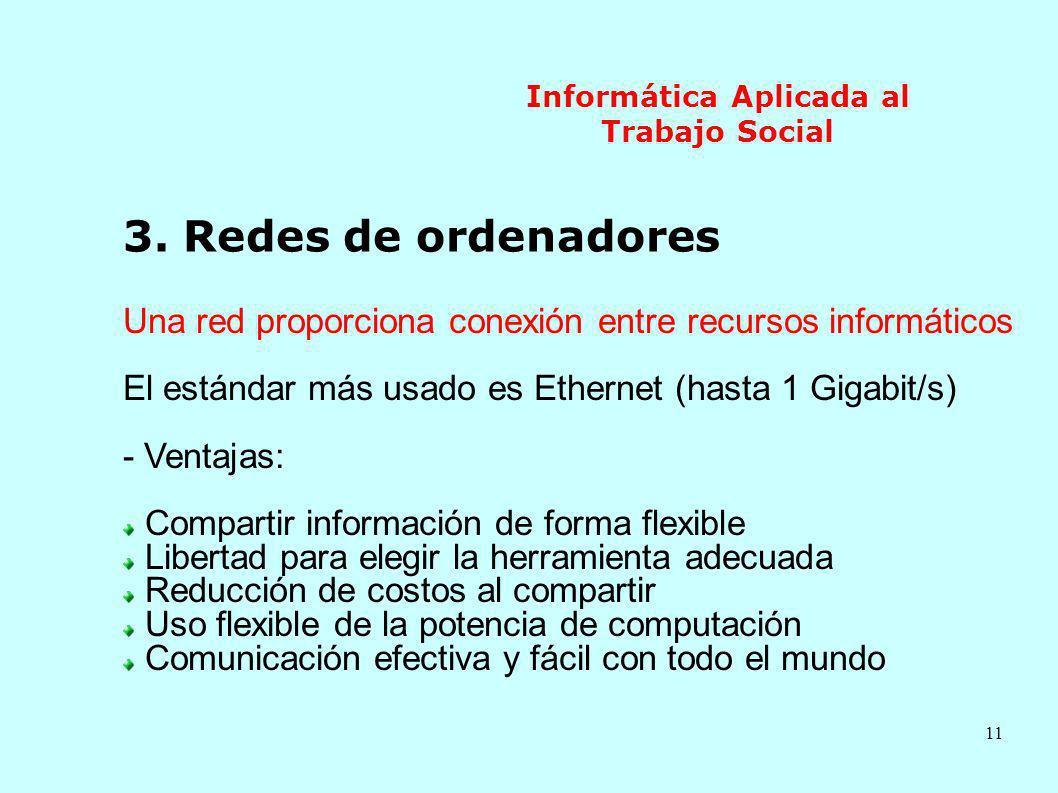 11 Informática Aplicada al Trabajo Social 3. Redes de ordenadores Una red proporciona conexión entre recursos informáticos El estándar más usado es Et