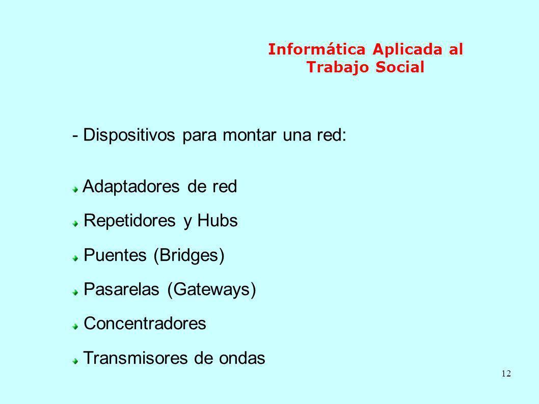 12 Informática Aplicada al Trabajo Social - Dispositivos para montar una red: Adaptadores de red Repetidores y Hubs Puentes (Bridges) Pasarelas (Gatew