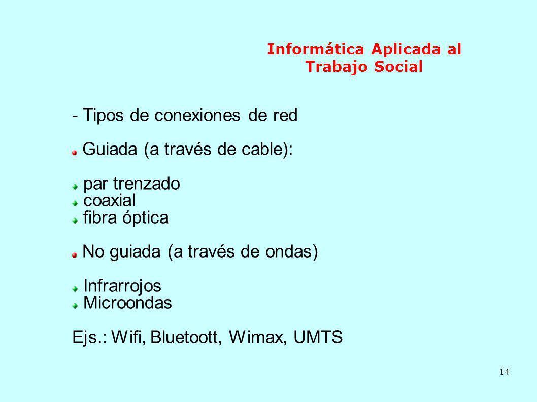 14 Informática Aplicada al Trabajo Social - Tipos de conexiones de red Guiada (a través de cable): par trenzado coaxial fibra óptica No guiada (a trav
