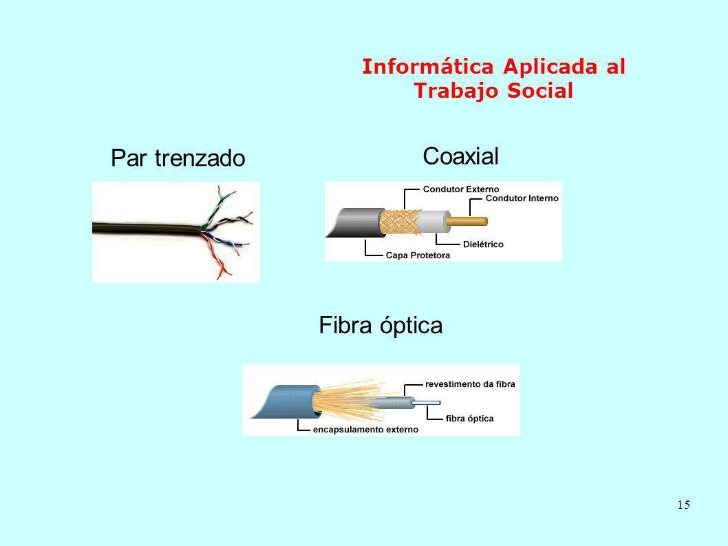 15 Informática Aplicada al Trabajo Social Par trenzado Coaxial Fibra óptica