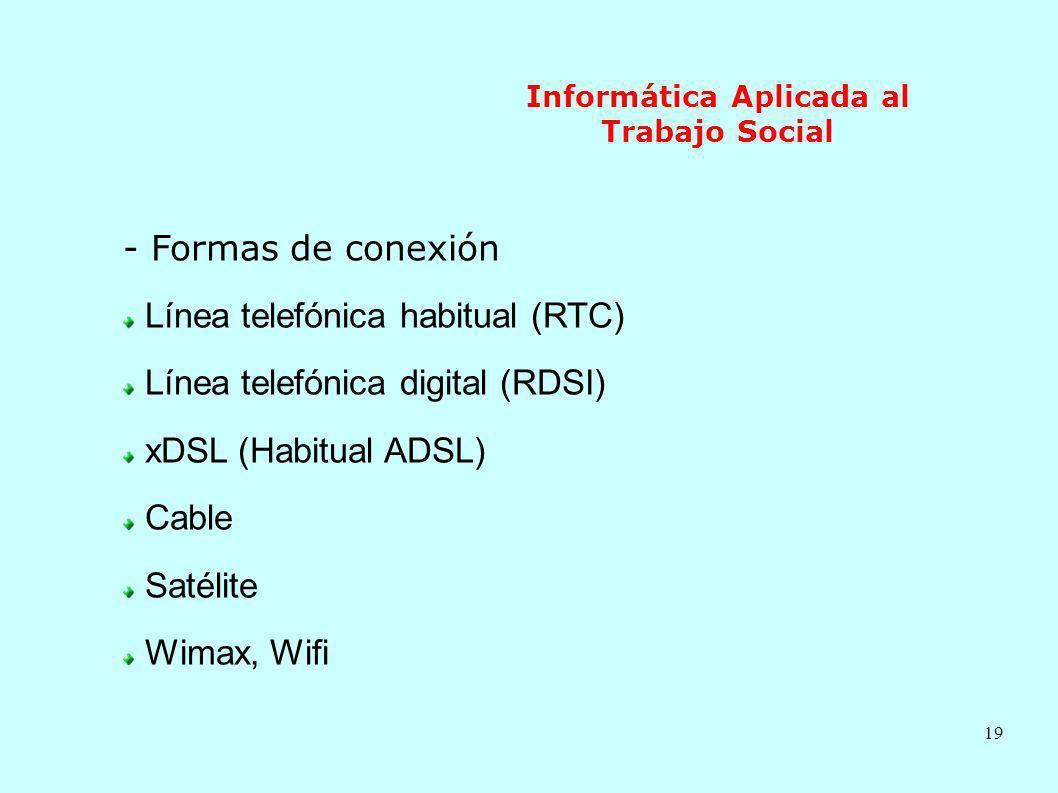 19 Informática Aplicada al Trabajo Social - Formas de conexión Línea telefónica habitual (RTC) Línea telefónica digital (RDSI) xDSL (Habitual ADSL) Ca