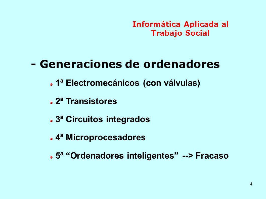4 Informática Aplicada al Trabajo Social - Generaciones de ordenadores 1ª Electromecánicos (con válvulas) 2ª Transistores 3ª Circuitos integrados 4ª M