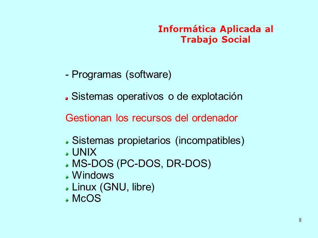 8 Informática Aplicada al Trabajo Social - Programas (software) Sistemas operativos o de explotación Gestionan los recursos del ordenador Sistemas pro