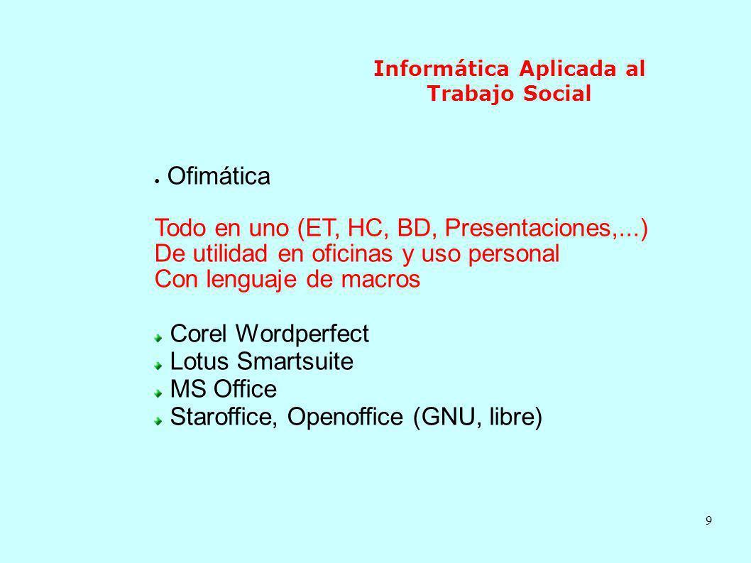 9 Informática Aplicada al Trabajo Social Ofimática Todo en uno (ET, HC, BD, Presentaciones,...) De utilidad en oficinas y uso personal Con lenguaje de
