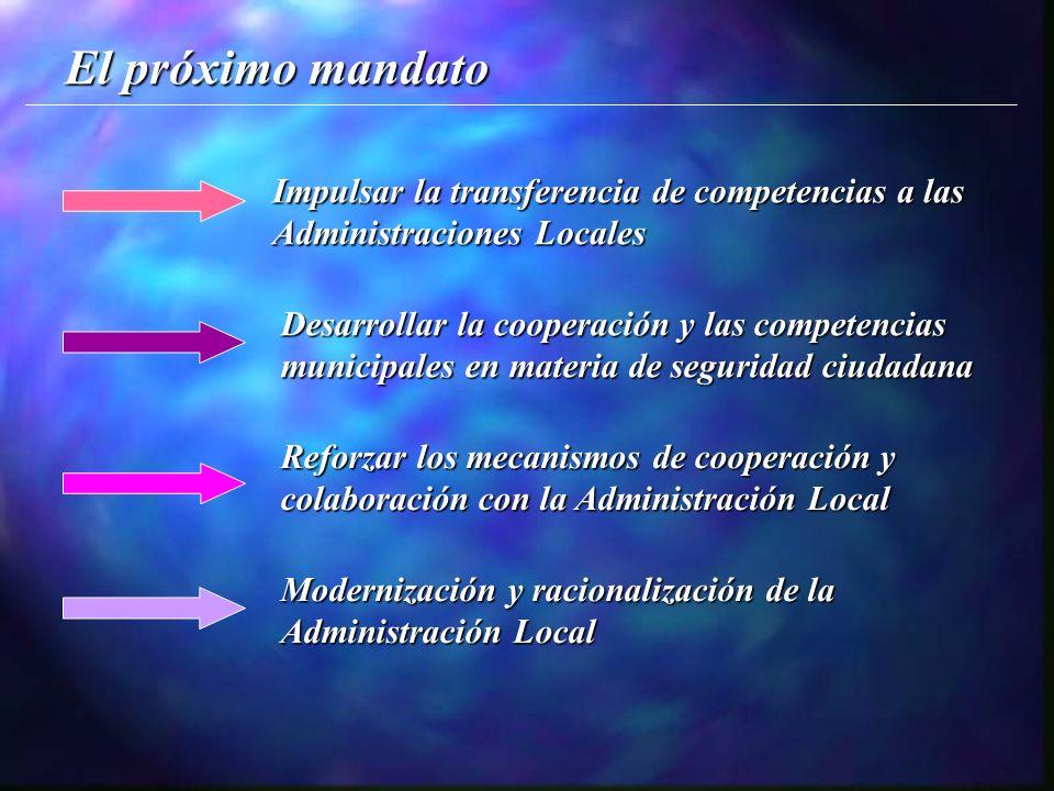 El próximo mandato Impulsar la transferencia de competencias a las Administraciones Locales Desarrollar la cooperación y las competencias municipales en materia de seguridad ciudadana Reforzar los mecanismos de cooperación y colaboración con la Administración Local Modernización y racionalización de la Administración Local