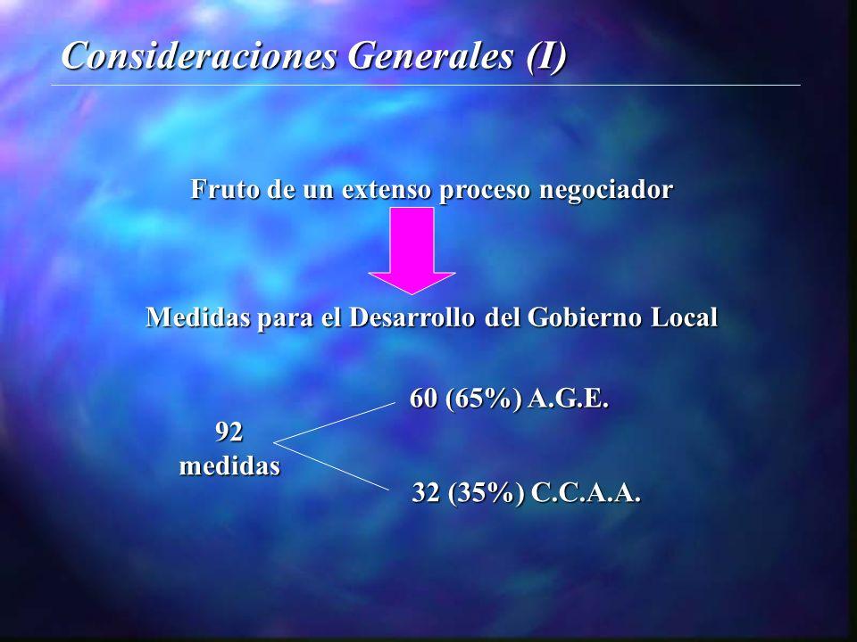 Consideraciones Generales (I) Medidas para el Desarrollo del Gobierno Local Fruto de un extenso proceso negociador 60 (65%) A.G.E.