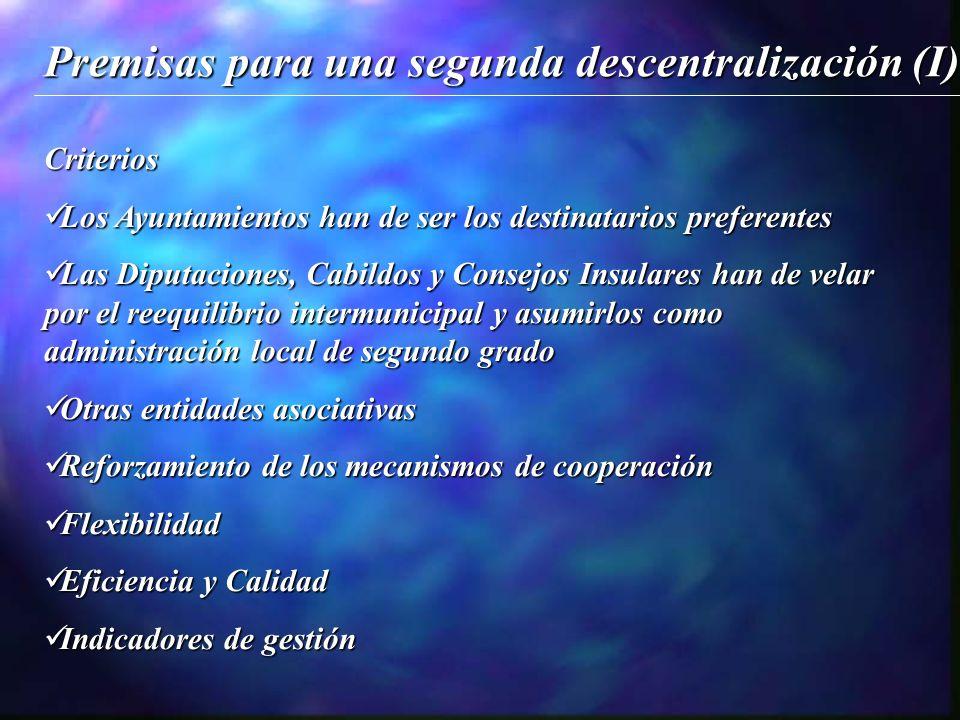 Materias:Empleo Suelo y Vivienda Educación Bienestar Social Políticas de Igualdad Medio Ambiente ConsumoTurismoDeportesOcio Premisas para una segunda descentralización (II)