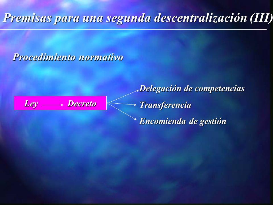 Premisas para una segunda descentralización (III) Procedimiento normativo Ley Decreto Delegación de competencias Transferencia Encomienda de gestión