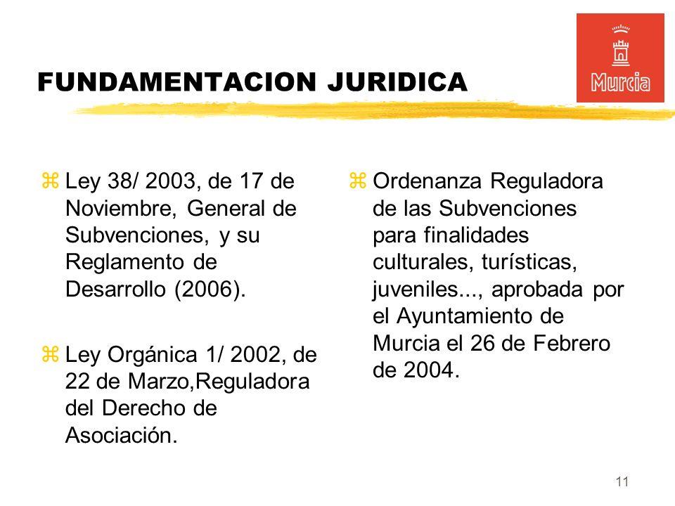 11 FUNDAMENTACION JURIDICA Ley 38/ 2003, de 17 de Noviembre, General de Subvenciones, y su Reglamento de Desarrollo (2006).