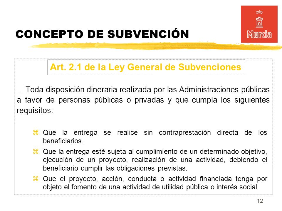 12 CONCEPTO DE SUBVENCIÓN...